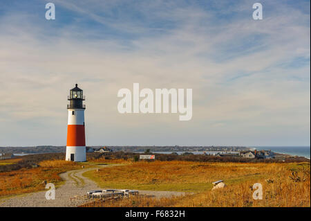 Sankaty Head Lighthouse Nantucket Massachusetts, built in 1850, sweeping view of the moors and sea in autumn fall - Stock Image