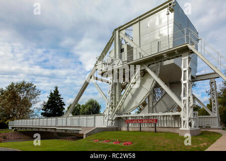 Pegasus Bridge at the Overlord Museum , Normandy, France - Stock Image