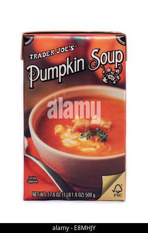 A box of Trader Joe's brand Pumpkin Soup. - Stock Image