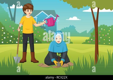 A vector illustration of Kids Doing Gardening - Stock Image