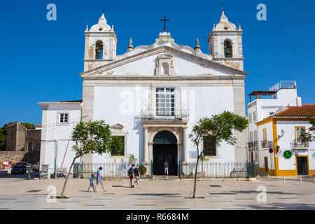 LAGOS, PORTUGAL - JULY 12TH 2018: The exterior of Igreja de Santa Maria, or Church of Santa Maria, in the historic old town of Lagos in Portugal, on 1 - Stock Image