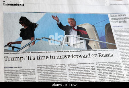 'Trump: It's time to move forward on Russia' Guardian newspaper headline article 10 July 2017 - Stock Image