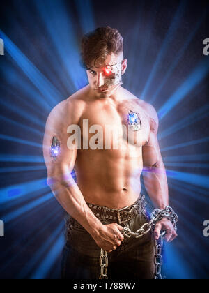 Close up Attractive Bare Muscled Man with Robotic Skin Art - Stock Image