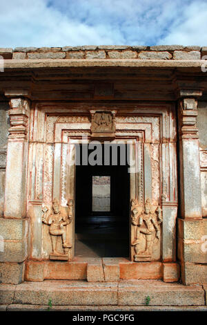 Door of a temple in Hampi, India - Stock Image