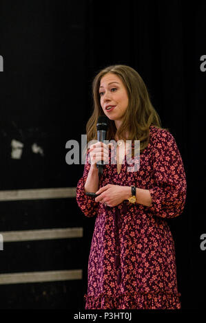 Chelsea Clinton with her children's book She Persisted Around the World: 13 Women Who Changed History at the 2018 Stoke Newington Literary Festival - Stock Image