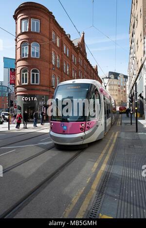 Tram in Stephenson st, Birmingham UK - Stock Image