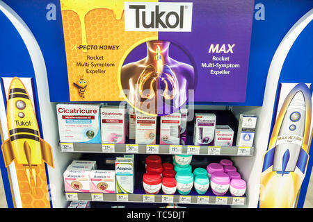 Miami Beach Florida CVS Pharmacy drugstore inside display sale Tukol expectorant relieves congestion Cicatricure anti-wrinkle cream moisturizer facial - Stock Image