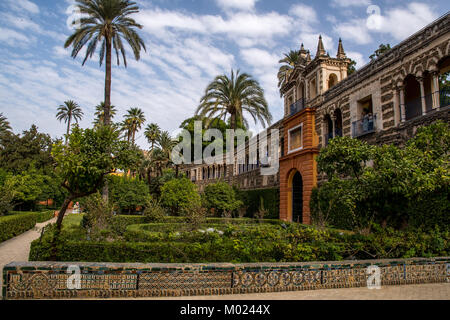 SEVILLE, ANDALUSIA / SPAIN - OCTOBER 13 2017: HISTORICAL PARK OF ALCAZAR - Stock Image