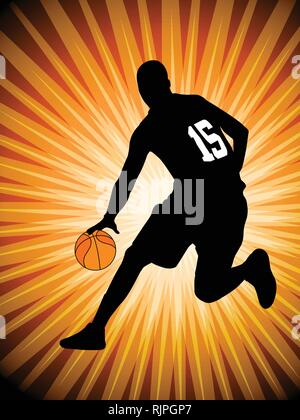 basketball player on the abstract orange background - vector - Stock Image