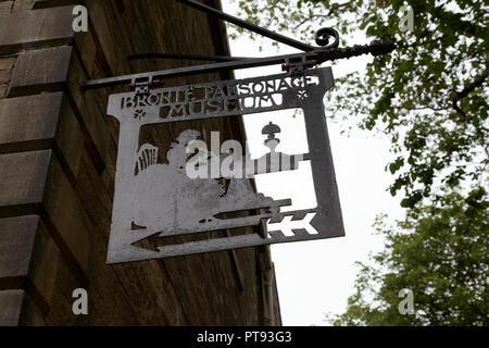 Sign denoting the Bronte Parsonage Museum, Haworth, West Yorkshire - Stock Image