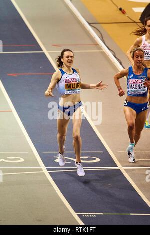 Glasgow, UK. 1st Mar, 2019. Laura Muir wins gold in 3000m race on European Athletics Indoor Championships 2019. Credit: Pawel Pietraszewski/Alamy Live News - Stock Image