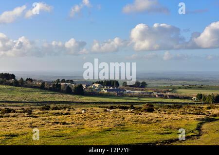 Dartmoor moorland looking across open moors toward Okehampton Camp training centre, Devon - Stock Image