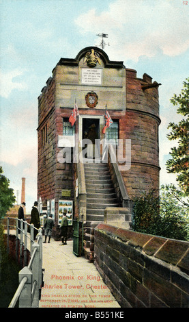 Old vintage picture postcard of the Phoenix or King Charles Tower Chester  EDITORIAL USE ONLY - Stock Image