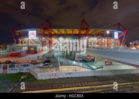 Karaiskakis stadium - football stadium of Olympiacos FC located in Piraeus as seen from the metro station of Neo - Stock Image