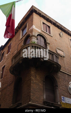 A corner balcony overlooking the Canal Venice - Stock Image