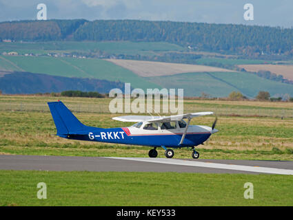 FR-172G Reims Cessna Skyhawk Rocket preparing for take off from Inverness Airport in the Scottish Highlands, - Stock Image