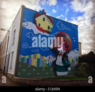 Street art on side of house in Bristol England - Stock Image
