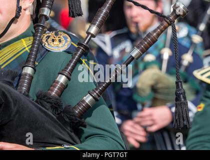 Lonach Gathering, Scotland - Aug 25, 2018: Bagpipe players in the Massed Pipe Band at the Lonach Gathering in Scotland. - Stock Image