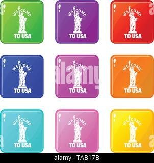 Freedom statue icons set 9 color collection - Stock Image