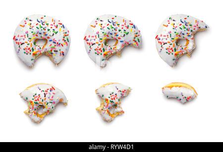 Donut Bite Parts Isolated on White Background. - Stock Image