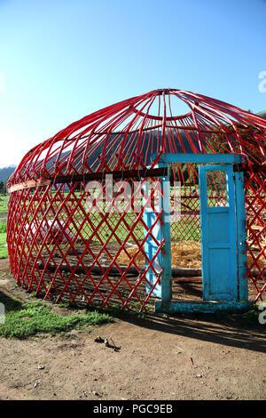 Door  and wooden  structure of a Yurt in Kyrgyzstan - Stock Image