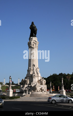 Marques de Pombal statue which stands in the square of the same name at the top of Avenida da Liberdade, Lisbon, - Stock Image