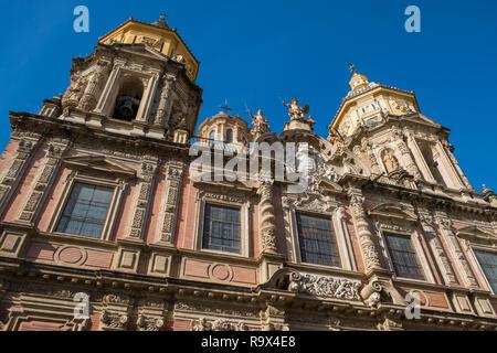 Front view of San Luis de los Franceses, a roman baroque church with sculpted facade, Macarena district, Seville, Spain - Stock Image