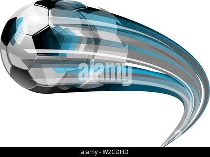 football sport ball soccer flying speed motion curved illustration - Stock Image