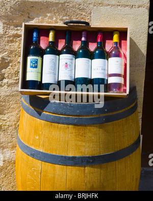 Wine Bottles, Saint Emilion, Aquitaine, France - Stock Image