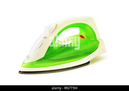 Green iron for ironing isolated on a white background - Stock Image