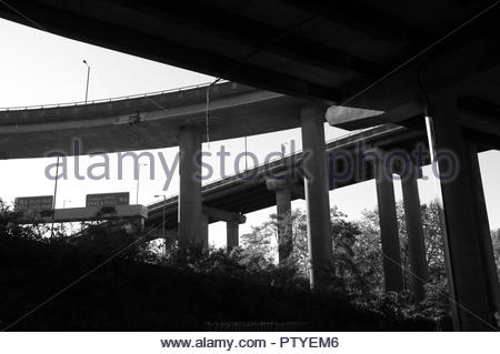 View of a section of the underside of the Gravelly Hill Interchange (aka Spaghetti Junction), Birmingham, West Midlands, UK. - Stock Image