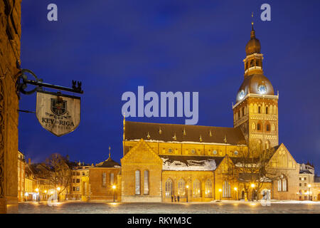 Winter evening at Riga cathedral. - Stock Image