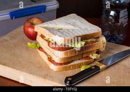 Sandwiches being prepared for lunch - Stock Image
