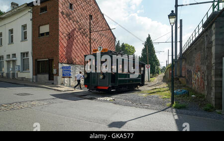 ASVi Museum 1910 Tramcar No. A.9288 Crosses Tienne du Notaire at Lobbes -1 - Stock Image