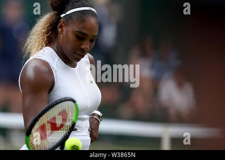 London, UK. 13th July, 2019. The All England Lawn Tennis and Croquet Club, Wimbledon, England, Wimbledon Tennis Tournament, Day 12; Serena Williams (USA) during her match with Simona Halep (ROM) Credit: Action Plus Sports Images/Alamy Live News - Stock Image