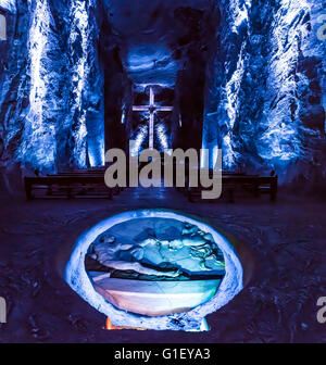 Interior Salt Cathedral Zipaquira Bogota Colombia - Stock Image