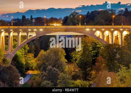 Adolphe Bridge is an arch bridge in Luxembourg City, in southern Luxembourg. - Stock Image