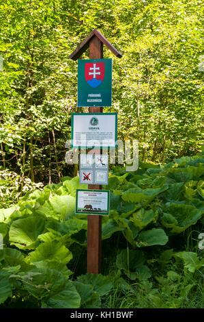 Poloniny National Park sign, Slovakia - Stock Image