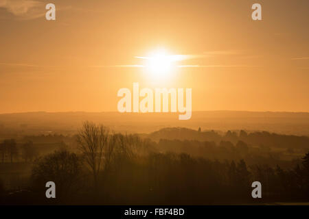 Sun Rising over the Countryside - Stock Image