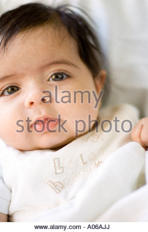 3 month old baby cute girl of mixed race origin half white half asian - Stock Image