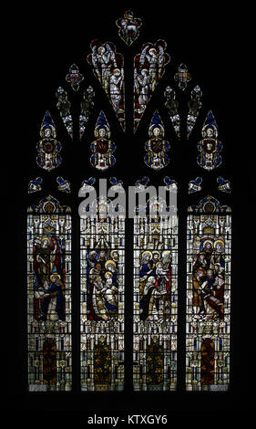 Stained glass window by Powell & Sons depicting Scenes from the early life of Jesus Christ, St Mary's Church, - Stock Image