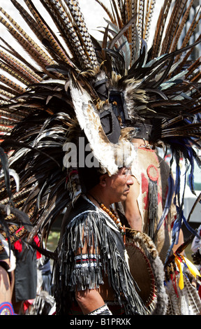 Mexican Man Dressed in Aztec Costume at a Traditional Aztec Festival at the National Museum of Anthropology in Mexico - Stock Image
