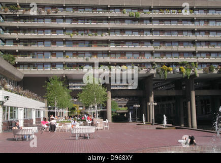 Cafe and apartments at Barbican Centre London - Stock Image