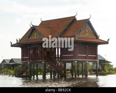 Temple in Kompong Phluk stilted village on side of Kampong Phluk River Siem Reap Cambodia Asia - Stock Image