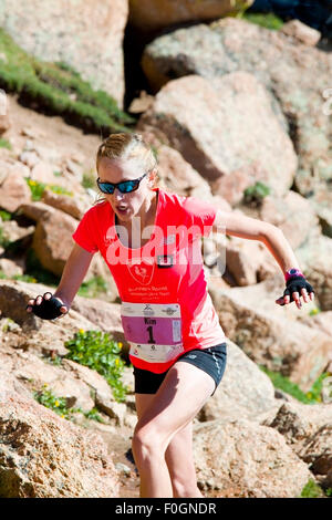 Kim S. Dobson wins first place in the women's division in the rugged Pikes Peak Ascent race up 14,115 foot Pikes - Stock Image