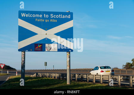 Road sign at Scottish Border on A1 at the Borders and Northumberland, UK - Stock Image