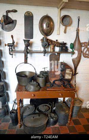 Inside the Victorian House Kitchen at Milton Keynes Museum, Wolverton and Greenleys, in Milton Keynes, Buckinghamshire, UK - Stock Image