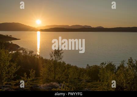 Midnight sun Norway, Midnight sun Alta, ocean, fjord - Stock Image