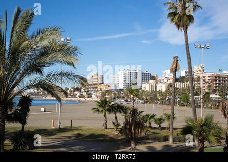 View of the public beach at Benalmadena, Andalucia, Spain. - Stock Image