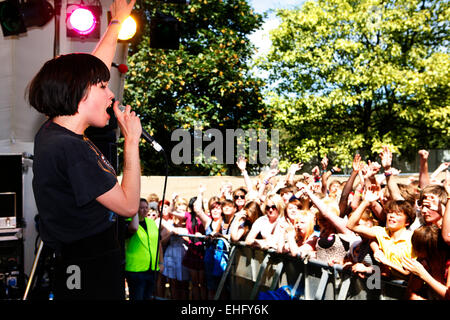 Crystal Castles live at Underage Festival in Victoria Park London. - Stock Image